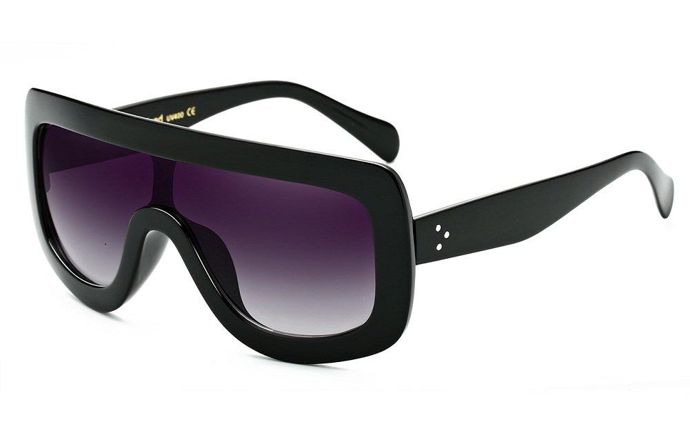 Women Fashion Top Preminum Oversized Flat Sunglasses UV400 5 Colors Black/Gradient gray