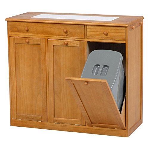 ダストボックス ゴミ箱 収納 完成品 天板タイル キャスター付き フック付き 木製 おしゃれ (ホワイト, 2分別25L) B07DBHYL2L 2分別25L|ホワイト ホワイト 2分別25L