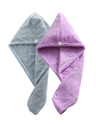 Women's Soft Shower Hair Towel Super Absorbent Dry Hair Cap Gray + Purple 4 Pack by Gentle Meow