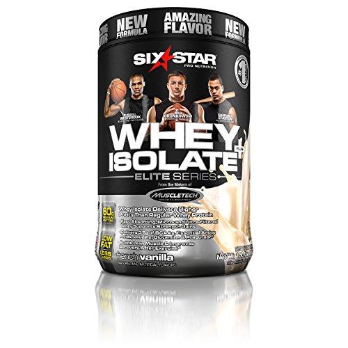 Six Star Whey Isolate Plus Protein Powder, 100% Whey Protein Isolate, French Vanilla, 1.5 Pounds