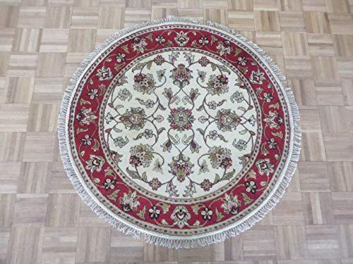 4 X 4 Round Hand Knotted Ivory Red Jaipur Agra Design Oriental Rug G7049