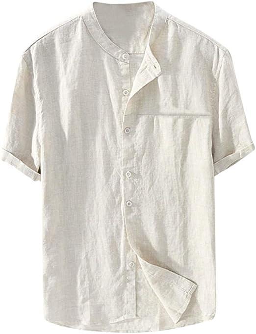 Amasells Camisas de Color sólido para Hombres, Camisetas ...