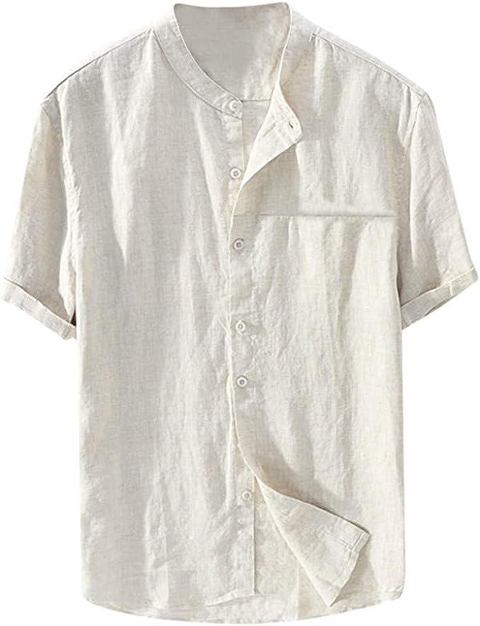 Amasells Camisas de Color sólido para Hombres, Camisetas holgadas ...