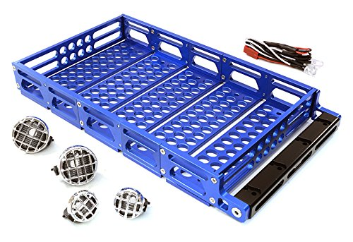 Integy RC Model Hop-ups C26894BLUE Realistic 1/10 Scale Alloy Luggage Tray 192x106x24mm with 4 LED Spot Light Set