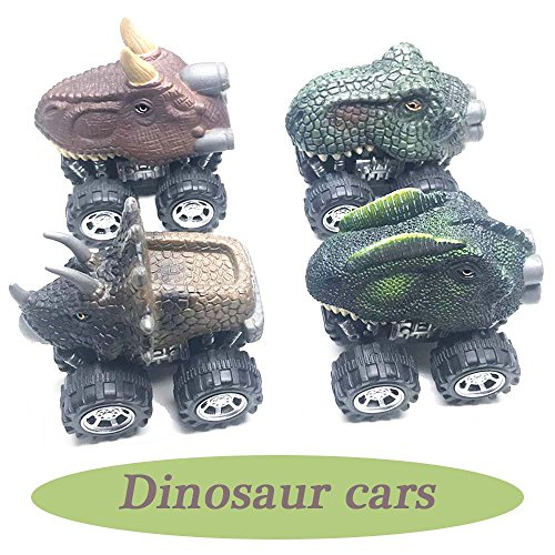 Dinosaur Car (Anditoy 4 Pack Pull Back Cars Big Tire Wheel Vehicles Playset Dinosaur Toys Truck for Kids Toddlers)