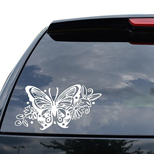 (BUTTERFLY TRIBAL ART INSECT WINGS Decal Sticker Car Truck Motorcycle Window Ipad Laptop Wall Decor - Size (11 inch / 28 cm Wide) - Color (Gloss WHITE))