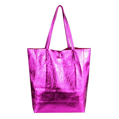 env femmes Courses aspect LxHxP IN Bandoulière Sac a4 Sac cuir SAC GOLD 38x36x9 à din Tote tressé OR à ITALY sac Sac cm Pink véritable de OBC main Metallic pour Métallique MADE qXwnCB75xF