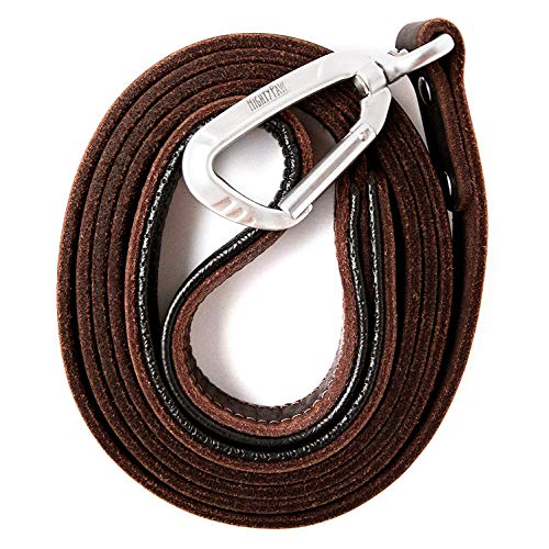 Mighty Paw Leather Dog Leash | 6 Ft Leash. Super Soft Padded Handle Leather Lead with Extra D-Ring for Waste Bags. Strong Climbers Clip, Perfect Medium and Large Dog Leash. - Leash Grip
