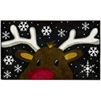 Nourison 093JT Reindeer Accent Decor, 16 x 26, Black