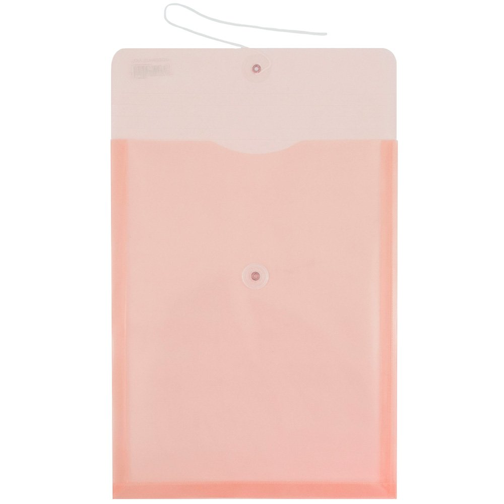 JAM Paper Plastic Envelope with Button and String Tie Closure - Letter Open End - 10 1/4'' x 13'' - Pink Frosted -108/pack by JAM Paper (Image #2)