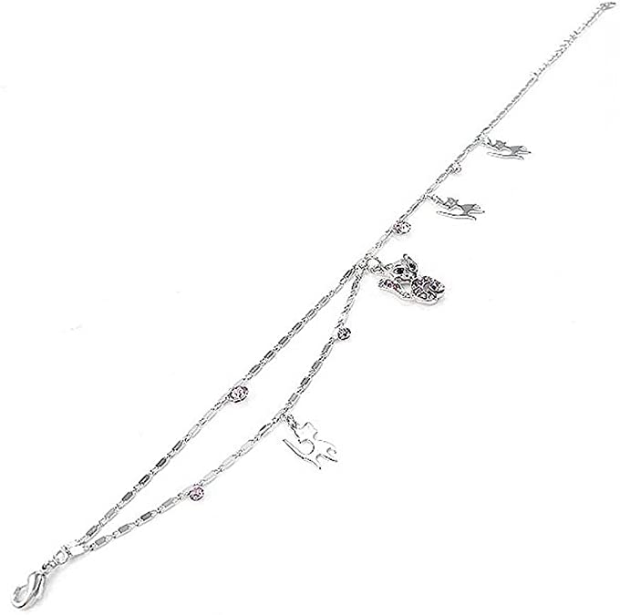 1815 Glamorousky Cutie Cat Anklet with Purple Austrian Element Crystals