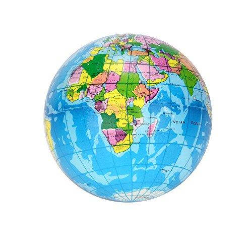 (2PCS World Map Jumbo Ball Atlas Globe Palm Ball Planet Earth Ball Toys, Plus Bonus Large Squishy Slow Rising Stress Reliever Squishys Jumbo Medium & Mini Squishy Stress Toys Best Cute Squishies Gift)
