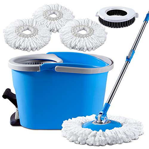 - 8L Spin Mop and Bucket Set 360 Degree Foot Pedal Clean Mop with 3 Pcs Microfiber Mop pads and 1 Pc Floor Brush head