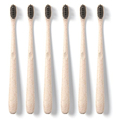 Hello Oral Care Bpa-free Toothbrush With Charcoal Bristles, Tan, 6 Count