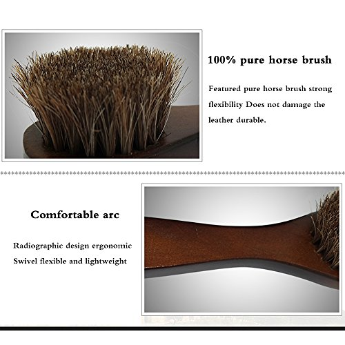 2PCS Polish Shoe Brush  ,  6.7'' Horse Shine Horsehair Brushes With Leather Dauber , Waterproofing Brown Cleaning Applicator Conditioner For Coats , Handbags ,  Purses ,  Briefcases ,  Saddles ,  Boot by ieasycan (Image #4)