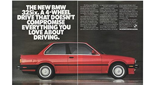 Not Coupe (Magazine Print Ad: Red 1987 BMW 325ix coupe, 4 wheel drive, 2 pages,