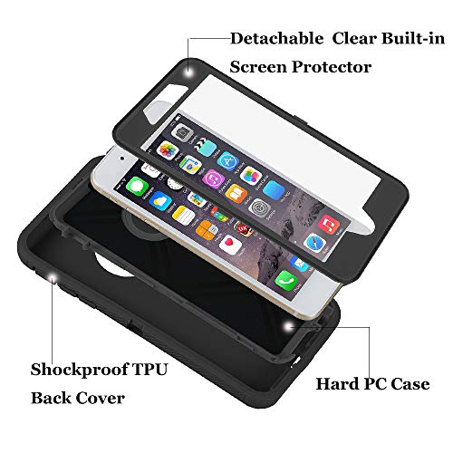 Co-Goldguard Phone Case for iPhone 7 Plus / 8 Plus Heavy Duty Durable 3 in 1 Built-in Screen Protector Hard Cover Shockproof Drop-Proof Scratch-Resistant Shell Compatible with iPhone 7+/8+,Black