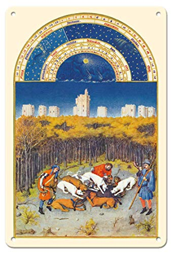 LHZJ Fashionable The Very Rich Hours Duke of Berry (Très Riches Heures) - December by Limbourg BrothersWall Sign 8X12 inches Metal tin Sign