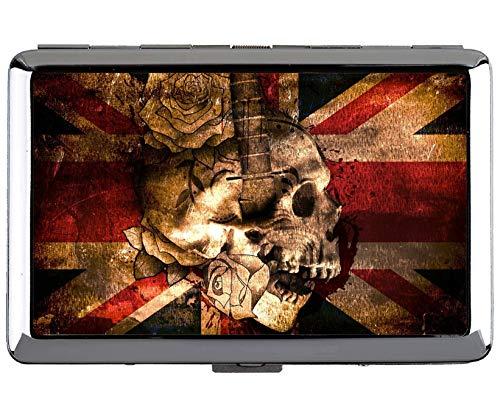 (Yanteng Cigarette Case King Size,Skull and Crossbones Skull Knife Protection Credit Business Card Holder Case Storage Box)