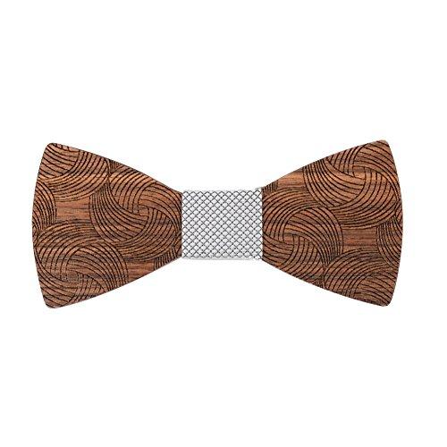 New 100% Silk Cummerbund - Mr Van Wooden Mens Bow Ties,Natural Walnut Wood Handcrafted Wooden Adjustable Bowties for Tuxedo Wedding Party