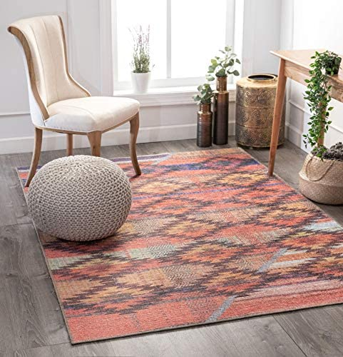 Well Woven Posh Trio Southwestern Melon Machine Washable Area Rug, 7 7 x 9 6