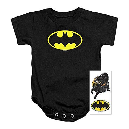 Batman Classic Logo Baby Onesie Bodysuit (12 mos) Black ()