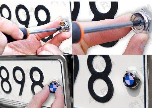 NEW 4 X BMW BLUE & WHITE License Plate Frame Bolts Emblem Screws Caps Logo Set