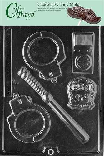 Cybrtrayd Life of the Party J078 Policeman Set Badge Nightstick Handcuffs Chocolate Candy Mold in Sealed Protective Poly Bag Imprinted with Copyrighted Cybrtrayd Molding Instructions