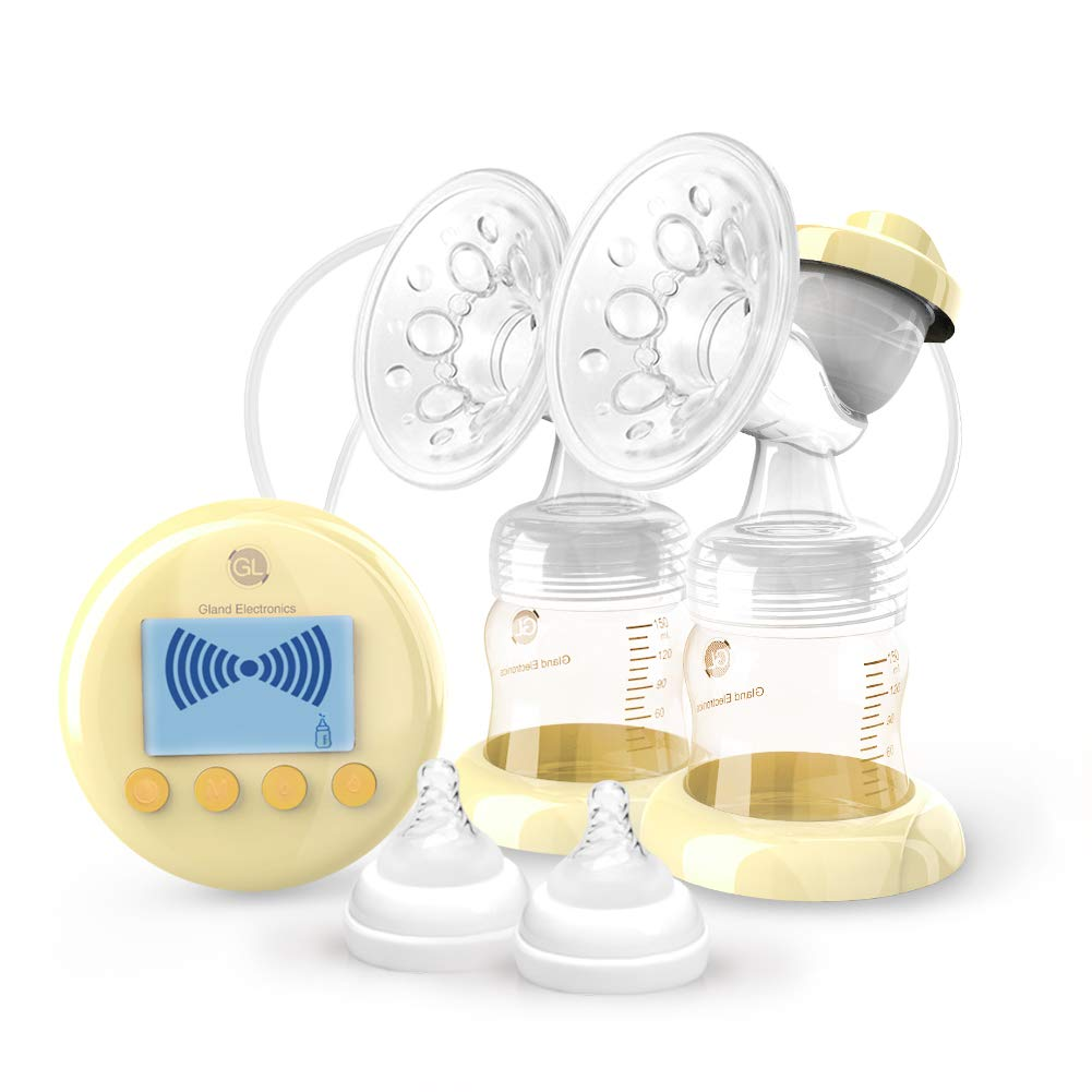 Double Electric Breast Pump,Comfort Breastfeeding Breast Pump Dual with HD LCD Display,Ultra-Quiet and USB Charging, 9 Levels Massage Suction, Germany Imported PPSU Safe Material -CE and FDA Approved GL Gland Electronics GL-p25