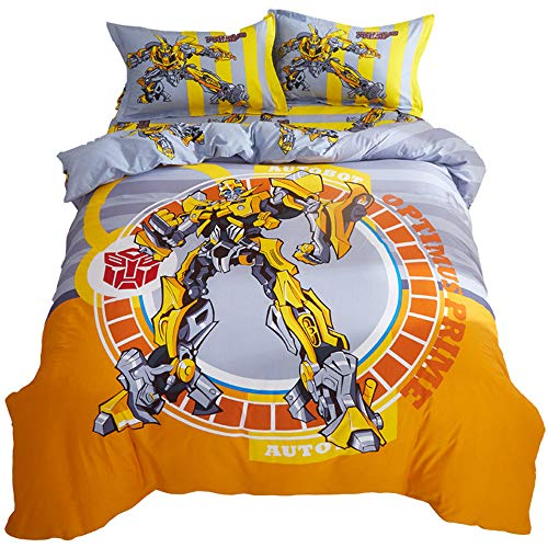 Air 100% Cotton Duvet Cover Set Cartoon Transformers Bumblebee for Boys Kids Bedding Including 1 Duvet Cover + 1 Flat Sheet + 2 Pillowcase /4 Piece (C, Twin(173X230)