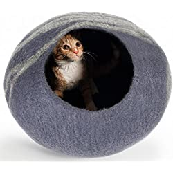 Twin Critters Handcrafted Cat Cave Bed (Large) - Felted From 100 Percent Natural Wool - Handmade Pod for Cats and Kittens (Slate Gray)