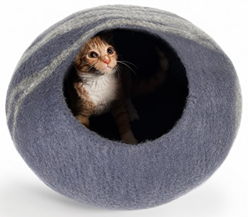 Twin Critters Handcrafted Cat Cave Bed (Large) – Felted From 100 Percent Natural Wool – Handmade Pod for Cats and Kittens (Slate Gray)