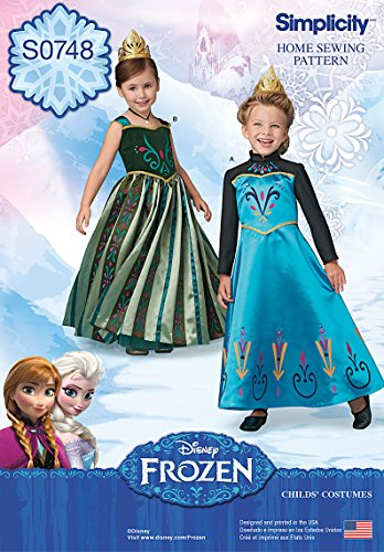 [Simplicity Creative Patterns S0748 Frozen Coronation Day Costumes for Children, Size: A 3-4-5-6-7-8] (Three Group Costumes)