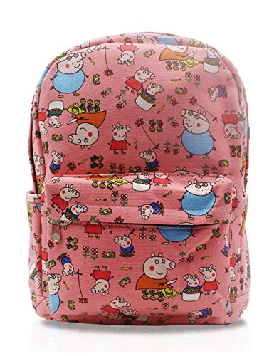 FINEX Peppa Pig Pink & Family Canvas Cute Cartoon Casual Backpack with 15 inch Laptop Storage Compartment Daypack Travel Snack Sport Book Bag Gift -