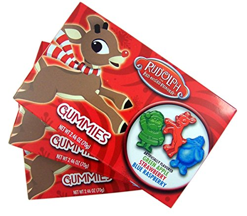 Rudolph The Red-Nosed Reindeer Christmas Candy Gummies, Pack of 3