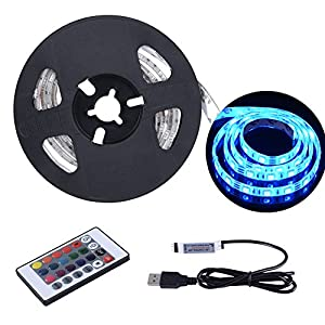 USB LED Strip Lights 6.56ft/2M 5050 IP65 Waterproof RGB TV Backlight Kit Table Multi-Color LED Tape with Remote Controller for TV/PC/Laptop Background Lighting