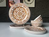 Hware 12 Pcs Melamine Livingware Outdoor Dinner Plates Set Service For 4,Round Pattern,Brown