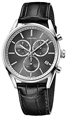 Calvin Klein Formality Black Leather Black Dial Quartz Analog Men's Watch K4M271C3