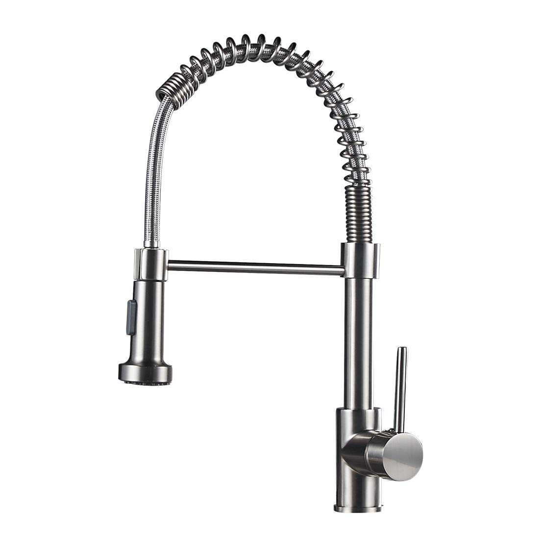 Commercial Single Handle Kitchen Faucet with Dual Function Spring Stainless Steel Kitchen Sink Faucets with Pull down Sprayer, Brushed Nickel Finish
