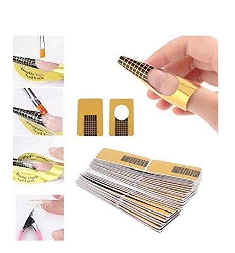 100pcs Nail Forms UV Gel für Nägel künstlerischen Anregungen für die Verlängerung der Guide Leitfaden Maniküre Design Tablett Papier Zubehör Newin Star