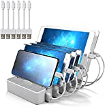 IMLEZON Multi Device Charging station 6 Port USB docking Station for Multiple Devices for Apple Samsung Cell phone Tablet etc 5V 50W (White, 6 cables included)