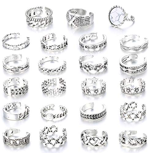 Fiasaso 23 Pcs Knuckle Rings Open Toe Rings Set for Women Girls Vintage Retro Finger Ring Adjustable