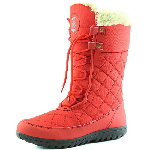 Women's DailyShoes Comfort Round Toe Mid Calf Flat Ankle High Eskimo Winter Fur Snow Boots, 9 (Red Flat Boots)