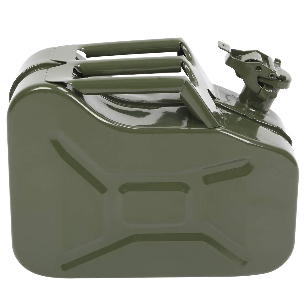 Kuyal STEEL PETROL CAN 10L JERRY MILITARY METAL CAN FUEL OIL WATER DIESEL STORAGE TANK WITH SPOUT