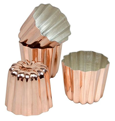CANNELE Pack of 4 COPPER Tinned Interior Molds, French Custard Coffee Cake Traditional Pastry [ Diameter 2.3