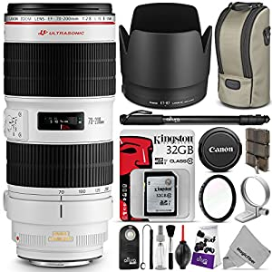 Canon EF 70-200mm f/2.8L IS II USM Telephoto Zoom Lens with Essential Bundle - Includes: DSLR Camera Monopod, UV Filter, Remote Control, Kingston 32GB SD Card, Camera Cleaning Set