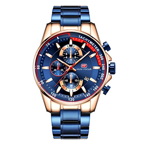 Focus Chronograph Wristwatch Business Mini Luxury Blue Steel Strap Watches Quartz Man Waterproof Stainless Men's HEI29D