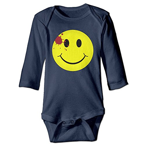 [LALayton Watchmen Bloody Smiley Face Cool For Jumpsuit Romper Climbing Clothes Navy] (Smiley Movie Mask)
