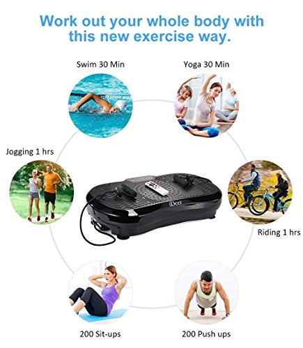 iDeer Vibration Platform Fitness Vibration Plates,Whole Body Vibration Exercise Machine w/Remote Control &Bands,Anti-Slip Fit Massage Workout Vibration Trainer Max User Weight 330lbs (Black09001) by IDEER LIFE (Image #2)