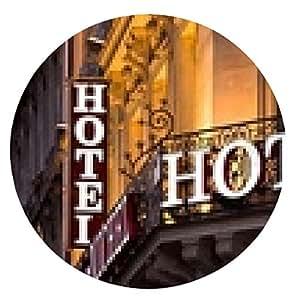 alfombrilla de ratón Iluminado parisina señal del hotel tomada en la oscuridad - ronda - 20cm